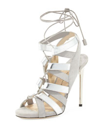 Tempest Metallic Lace-Up Sandal, Gray/Silver