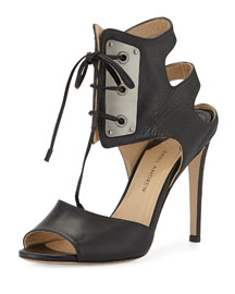 Laguardia Leather Lace-Front Sandal, Black