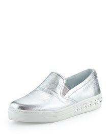 Skate Shoe w/ Embellished Outsole, Silver