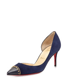 Culturella Suede Spiked Half d'Orsay Red Sole Pump, Nuit