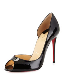 Demi You Half d'Orsay Peep-Toe Red Sole Pump, Black