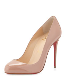 Dorissima Patent Red Sole Pump, Nude