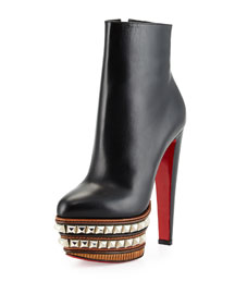 Faolo Pyramid Stud Plaform Red Sole Bootie