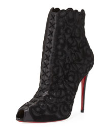 Indiboot Lace-Front Red Sole Bootie, Black