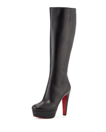 Ladyboot Platform Red Sole Knee Boot, Black