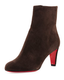 Top Suede Red Sole Ankle Boot, Taupe