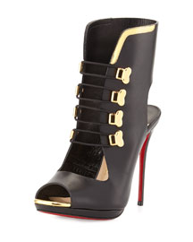 Troubida Lace-Front Red Sole Pump, Black