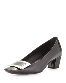 Belle Vivier Patent Buckle Low-Heel Pump