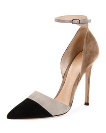 Multicolor Suede Ankle-Wrap d'orsay Pump