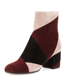 Angled Patchwork Suede Ankle Boot