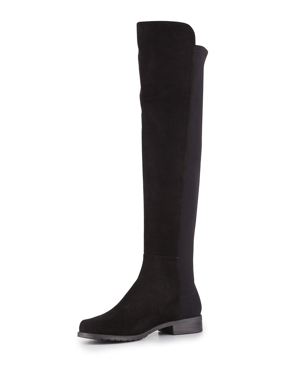 Stuart Weitzman 50/50 Suede Stretch Over-the-Knee Boot, Black, Women's, Size: 39.5B/9.5B