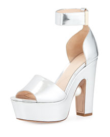 Pearly Metallic Ankle-Wrap Sandal