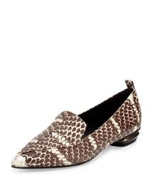 Beya Snakeskin Point-Toe Loafer, Brown