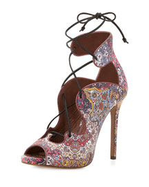Reed Floral-Print Leather Lace-Up Sandal