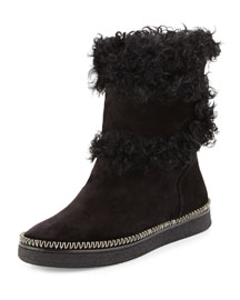Wrap-Around Shearling-Trimmed Ankle Boot