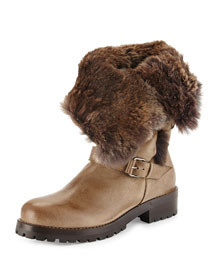 Rabbit Fur Fold-Over Leather Ankle Boot