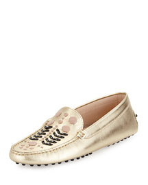 Gommini Embellished Metallic-Leather Loafer, Gold/Black