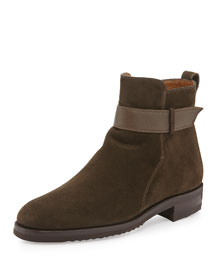 Waterproof Suede Tabbed Ankle Boot