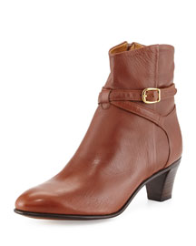 Crisscross Tabbed Leather Ankle Boot