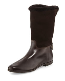 Shearling-Lined Leather & Suede Mid-Calf Boot
