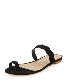 Petal Nubuck Scalloped Sandal, Black