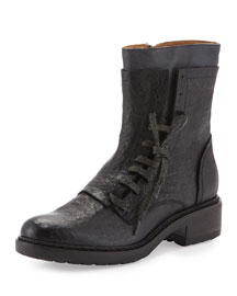 Freya Tumbled Leather Asymmetric Lace-Up Boot