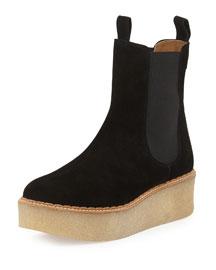 Deltona Platform Suede Chelsea Boot, Black