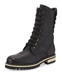 Elma Lace-Up Leather Combat Boot