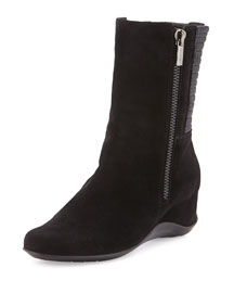 Velma Double-Zip Suede Mid-Calf Boot