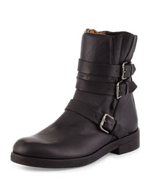 Triumverate Short Leather Moto Boot, Black (Nero)