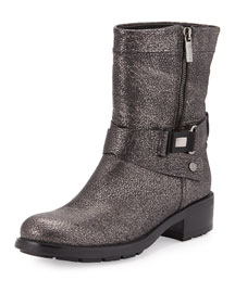 Sami Metallic Crisscross Buckled Mid-Calf Boot