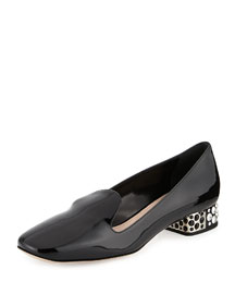 Patent Crystal-Heel Loafer Pump