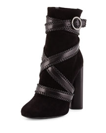 Belted Suede Ankle Boot, Black