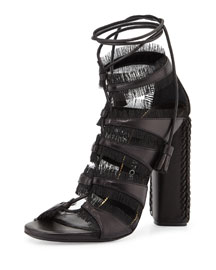 Eyelash-Fringed Leather Gladiator Sandal, Black