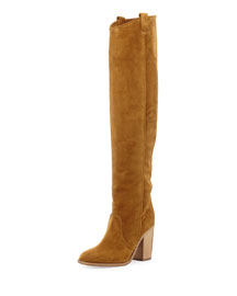 Silas Split-Calf Western-Style Knee Boot, Camel