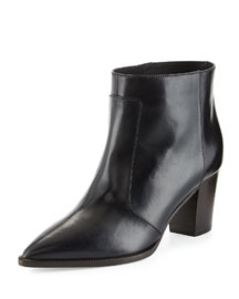 Gipsy Layered Point-Toe Leather Bootie
