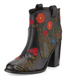 Pete Floral-Embroidered Ankle Boot