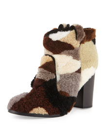 Pete Patchwork Shearling Fur Bootie