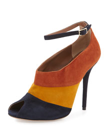 Sheila Colorblock Suede Peep-Toe Pump