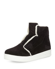 Shearling-Trimmed Suede High-Top Sneaker
