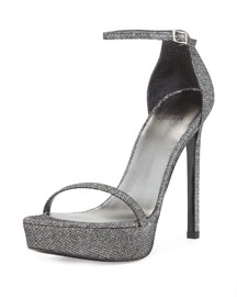 Metallic Platform Nudist Sandal, Pewter