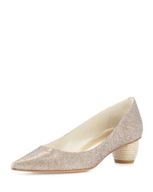 Poco Metallic Fabric Pump, Platinum