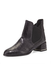 Showme Croc-Embossed Ankle Boot, Black
