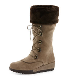 Bigfoot Faux-Fur Lace-Up Boot, Neutral