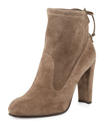 Glove Tie-Back Suede Ankle Boot