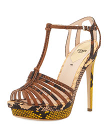 Colorblock Python-Embossed Strappy Sandal