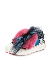Mixed Fur Splatter-Print Sneaker, Black/Multi/Marshmallow