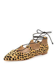 Ambra Cheetah-Print Calf Hair Lace-Up Flat, Black