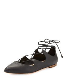 Ambra Leather Lace-Up Flat, Black