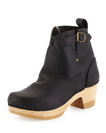 Water-Resistant Leather Buckled Clog Bootie